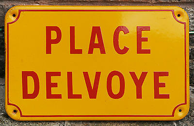 French enamel steel street sign road plaque vintage Place Delvoye Lomme Lille