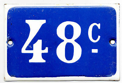 Old blue French house number 48 C door gate plate plaque enamel metal sign VGC