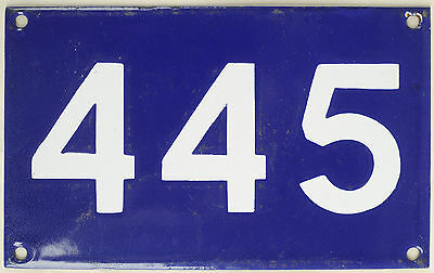 Old Australian used house number 445 door gate enamel metal sign in French blue