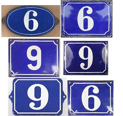 Big old blue French house number 6 9 door gate plate steel enamel sign - choice