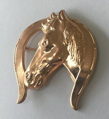 Vintage Stamped 1950's Western Brooch / Pin Horse & Horseshoe - Cowboy Jewelry