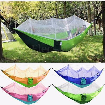 Outdoor Double Hammock Tree Travel Camping 2 People Swing Bed With Mosquito Net