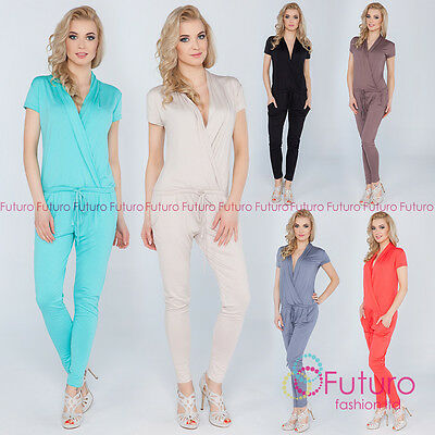 Womens Jumpsuit With Pockets V Neck Wrap Playsuit Catsuit Sizes 8 - 18 1080