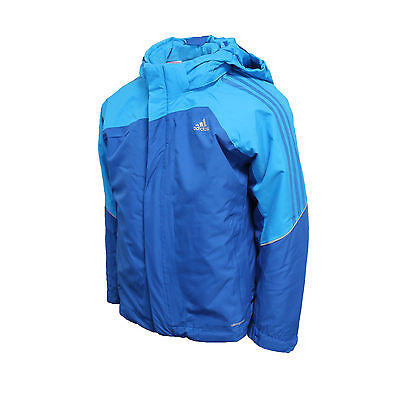 Adidas Performance ClimaProof Waterproof Hooded Jacket Boys Blue F87942 Z3