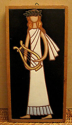 Greece Greek Art Painting Ceramic Pottery Hand Painted Tile Greek Muse
