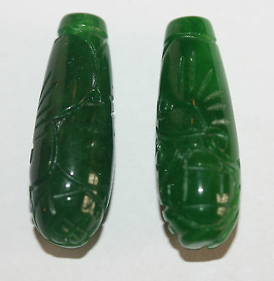 AAA  Carved  Green Jade Drop Pair 28x10mm Gemstone