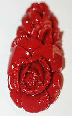 AAA Recons Red Coral Carved Drop Pendant 25x54mm  Big  Pendant Loose