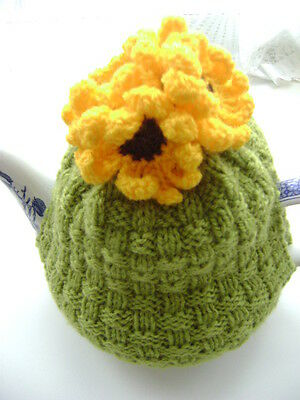 New Hand Knitted Sunflower Tea Cosy~Large