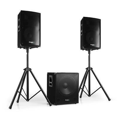 "1200W Disco Stage Dj Pa Speaker System 15"" Subwoofer 2.1 Sound Stands Cables"