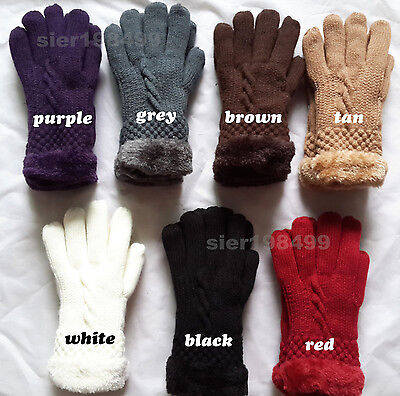 Wholesale new Women's Warm Winter Knit Gloves Mittens One Size Fur Lining