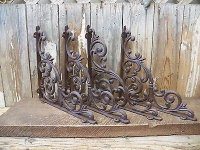 "Lot 4 Antique-Style Cast Iron X-LARGE 13"" x 13"" Shelf SHELVING BRACKETS Braces"