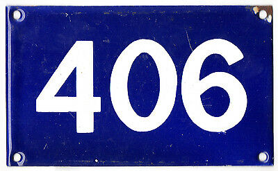 Old Australian used house number 406 door gate enamel metal sign in French blue