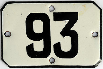 Railway carriage house number 93 door gate plate plaque enamel steel metal sign