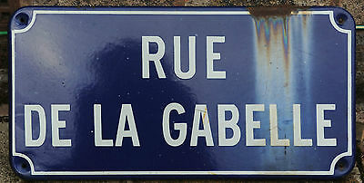 French enamel steel street sign road plaque plate vintage Rue de la Gabelle tax
