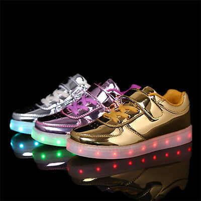 LED Light up USB Charger boys girls Sneakers Kids Casual dance Shoes 5-9
