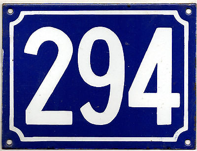 Large old blue French house number 294 door gate plate plaque enamel metal sign