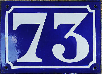 Large old blue French house number 73 door gate plate plaque enamel metal sign