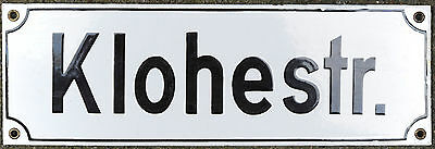 German 2 face enamel steel street sign road plaque vintage Khloe Strasse Chloe