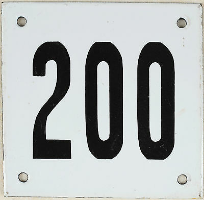 Old white French house number 200 door gate plate plaque enamel steel metal sign