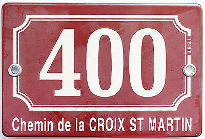 Brown French house number 400 door gate plaque enamel steel metal sign St Martin