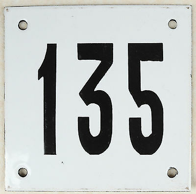 Old white French house number 135 door gate plate plaque enamel steel metal sign