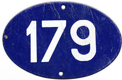 Blue oval French house number 179 door gate plate plaque enamel steel metal sign