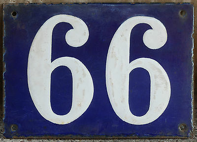 Large French house number 66 99 door gate plate plaque enamel steel metal sign