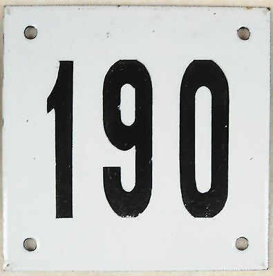 Old white French house number 190 door gate plate plaque enamel steel metal sign