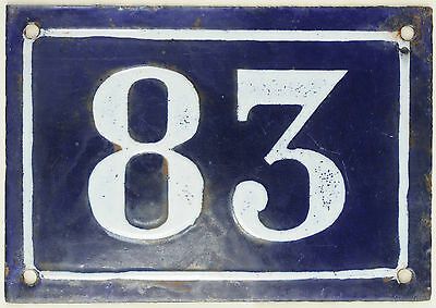 Large old blue French house number 83 door gate plate plaque enamel metal sign