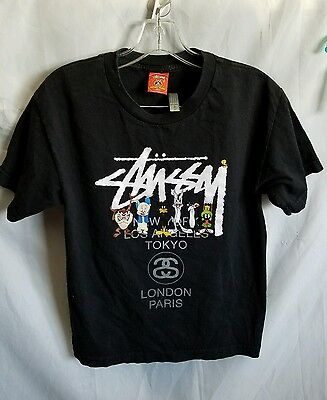 VINTAGE STUSSY LOONEY TUNES WORLD T-SHIRT YOUTH sz L