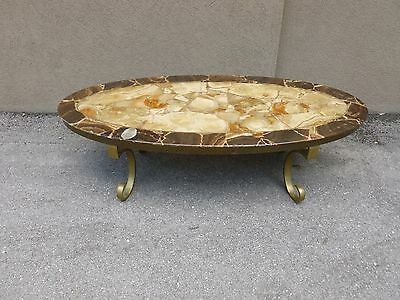 Vintage Mid Century Signed Mexican Muller Onyx Table W Brass Legs -P