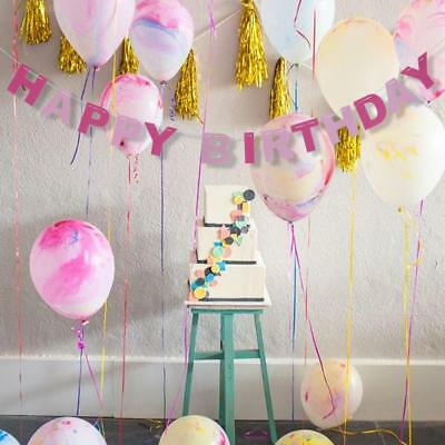HAPPY BIRTHDAY Pennant Flags Bunting Garland Banner Party Adorn Decor Pink