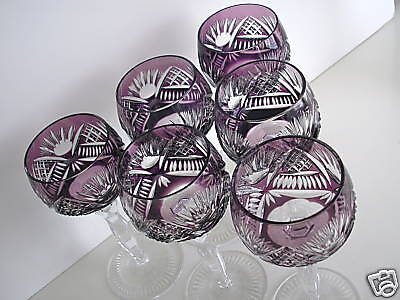 AJKA HUNGARY AMETHYST CASED CUT TO CLEAR CRYSTAL WINE GOBLETS Set of 6