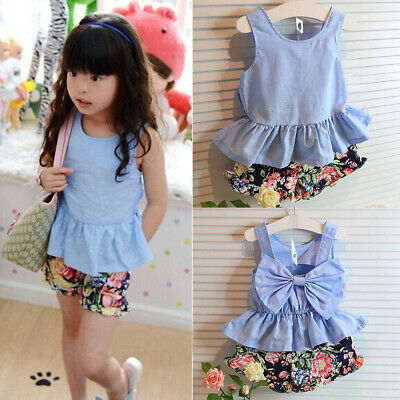 Toddler Infant Girls Outfits T-shirt Tops+Floral Fashion Pants Kids Clothes Sets