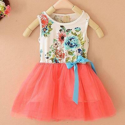 2-6Y Baby Girl Princess Dress Kids Toddler Party Pageant Flower Tutu Dresses