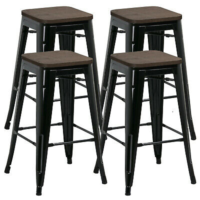 Set of 4 Black Vintage Bar Stool Industrial Steel Design Wood Top 26""