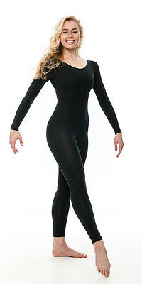 Girls Ladies All Colours Cotton Long Sleeve Footless Catsuit Unitard KDC057