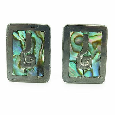 Taxco Mexico Sterling Silver Abalone Inlay Ethnic Large Rectangular Cufflinks