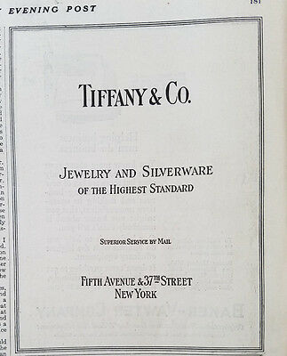 1920 Tiffany & Co Jewelry and Silverware Highest Standard New York Original Ad