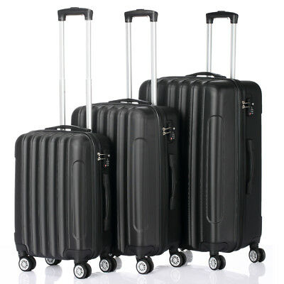 3 Pcs Luggage Travel Set Bag ABS Trolley Suitcase w/TSA lock Black 4 Wheels
