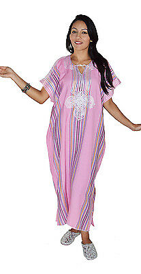 Moroccan Kaftan Caftan Beach Cover Up Summer Dress Casual Linen Sm-Lg Pink