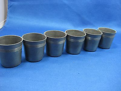 Lot of 6 Antique German Solid Heavy Pewter Shooters/Cups/Containers Engraved Old