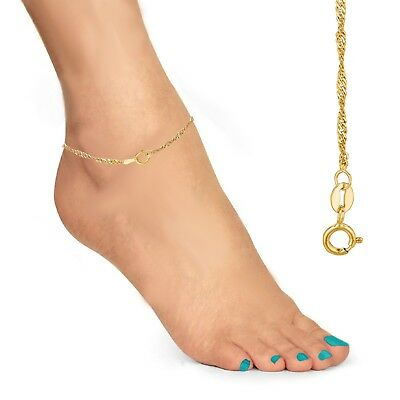 "10K Solid Yellow Gold Anklet Singapore Chain 10"" 1.5mm"
