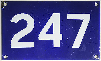 Old Australian used house number 247 door gate enamel metal sign in French blue