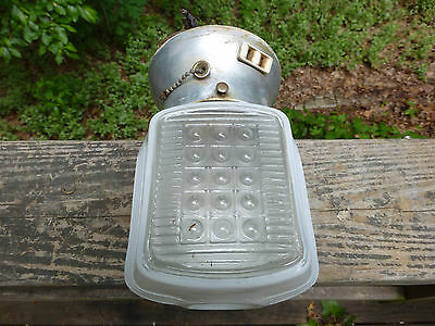 Vintage Art Deco milk glass ceiling fixture Globe Light by Leviton 250W-250V