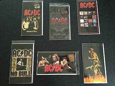 New Sealed Official AC/DC Merchandise Set of 6 Collectors Cards & Badges RRP $28