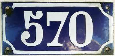 Large old blue French house number 570 door gate plate plaque enamel metal sign