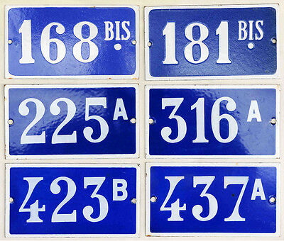 Old blue French house number door gate plate plaque enamel metal sign VGC 423 B