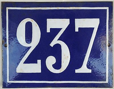 Large old French house number door gate plate plaque enamel steel metal sign 237