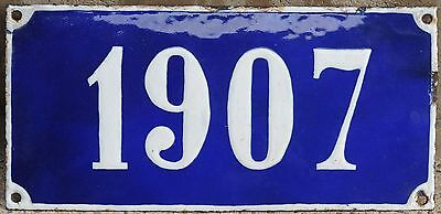 Old blue French house number 1907 door gate plate plaque enamel steel metal sign
